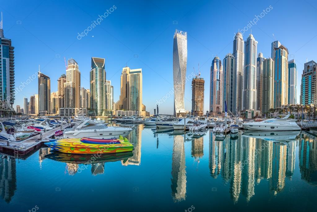 dubai uae october modern buildings in dubai marina dubai uae in the city of artificial channel length of kilometers along the persian gulf