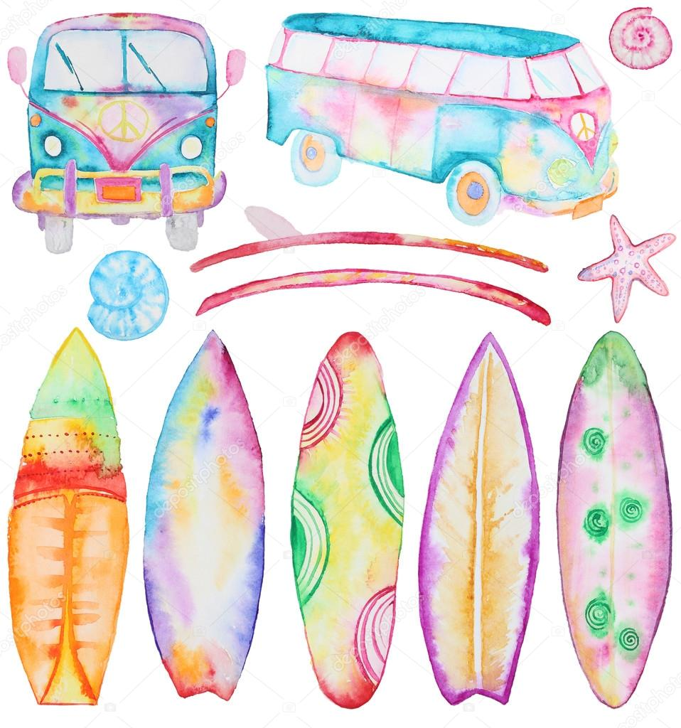 Watercolor Surfing boards and van
