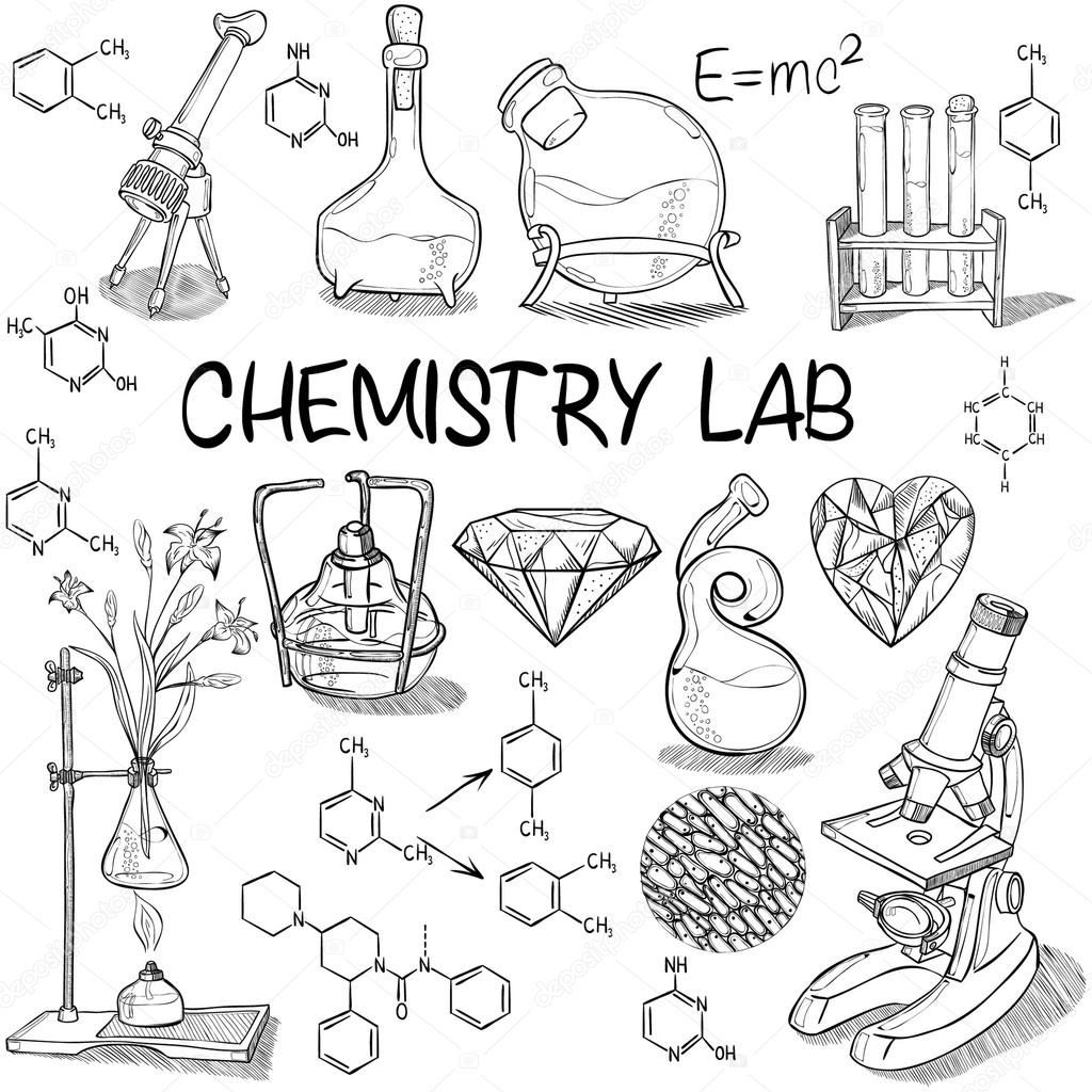 Picture: lab sketch | Chemistry lab sketch set — Stock