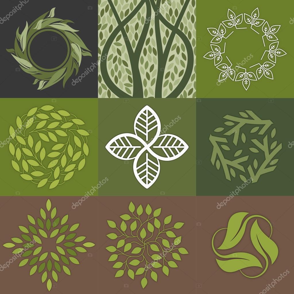 green leaves logos design