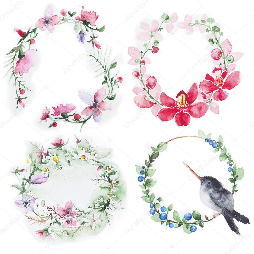 Set of Flowers wreath watercolor