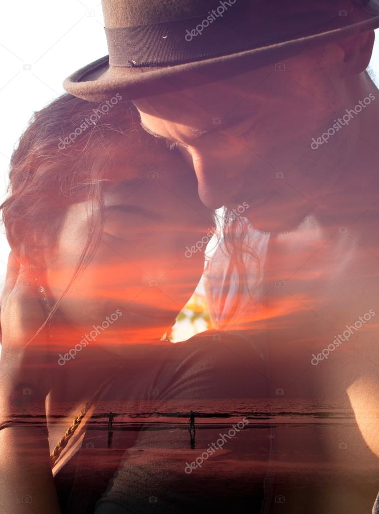 Couple mixed with sunset scene