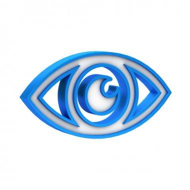 Blue plastic Eye icon on white background stock vector