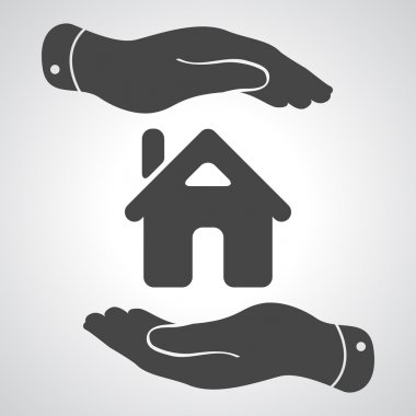 Caring hands icon - protecting house vector illustration
