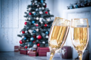 Two Christmas Champagne Glasses