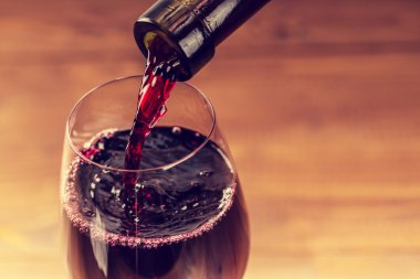 Pouring wine into the glass