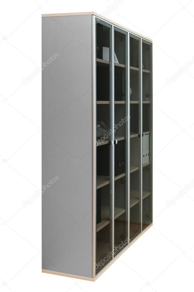 boekenkast met glazen deuren op een witte achtergrond foto van igterex
