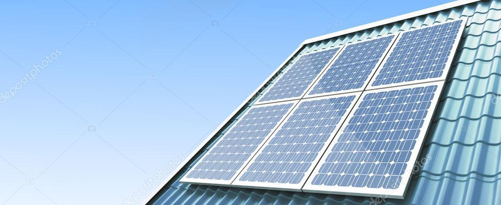 屋根の太陽光パネルの白い背景の上に 3 D のイラスト ストック写真