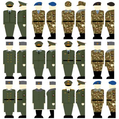 Russian military uniforms of soldiers and officers