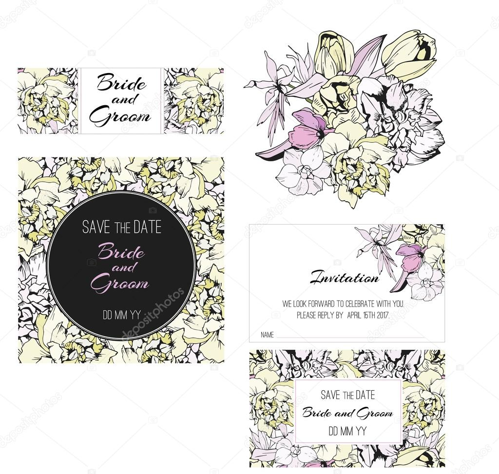 Invitation, save the date cards. Flowers invitation set.
