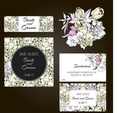 Invitation, save the date cards. Flowers invitation set.