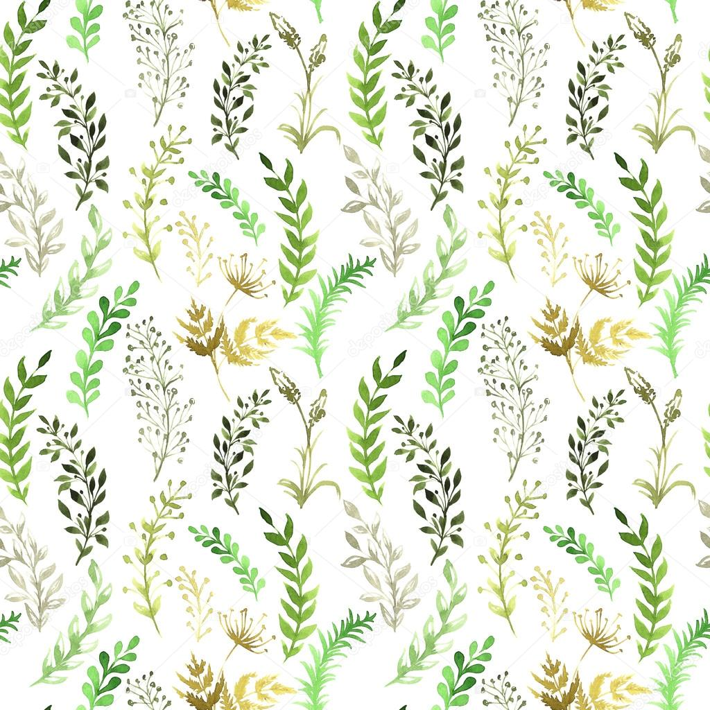 seamless pattern with silhouettes of flowers and grass, drawing by watercolor, hand drawn illustration