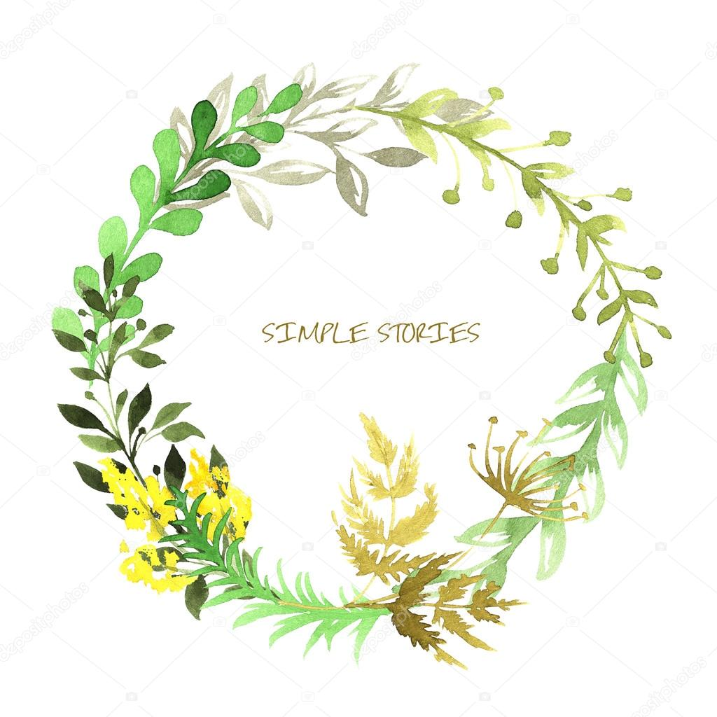 Set of flowers painted in watercolor on white paper. Sketch of flowers and herbs. Wreath.