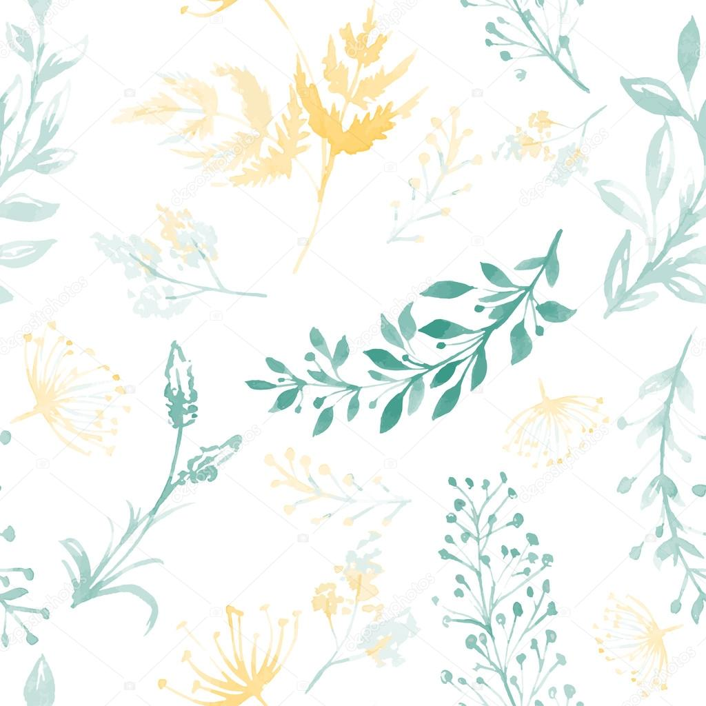 Vector seamless pattern with silhouettes of flowers and grass, drawing by watercolor, hand drawn illustration