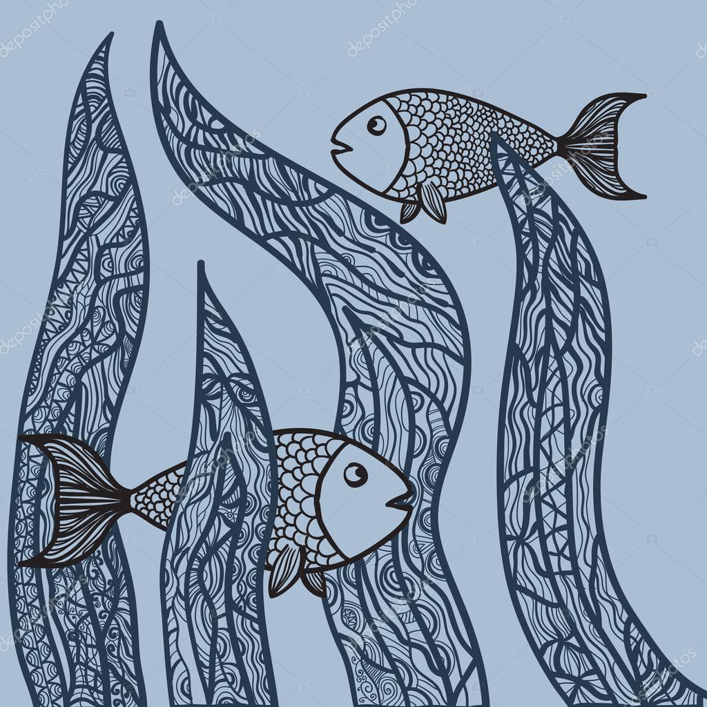 Zwei Fische im Seegras. Erwachsenen antistress Malvorlagen. Hand ...