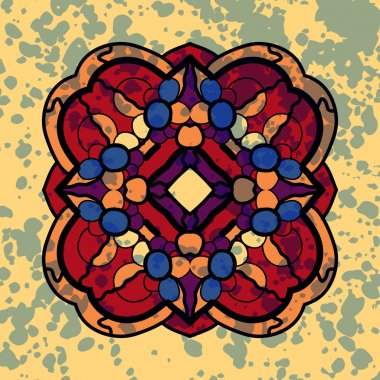 Vintage vector four sided symmetrical mandala pattern with blots.