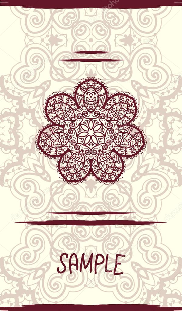 Vertical wedding Card with ornate mandala floral pattern. Vintage decorative element. Hand drawn background. Islamic, arabic, indian, ottoman, asian motifs. Tribal design in henna color.