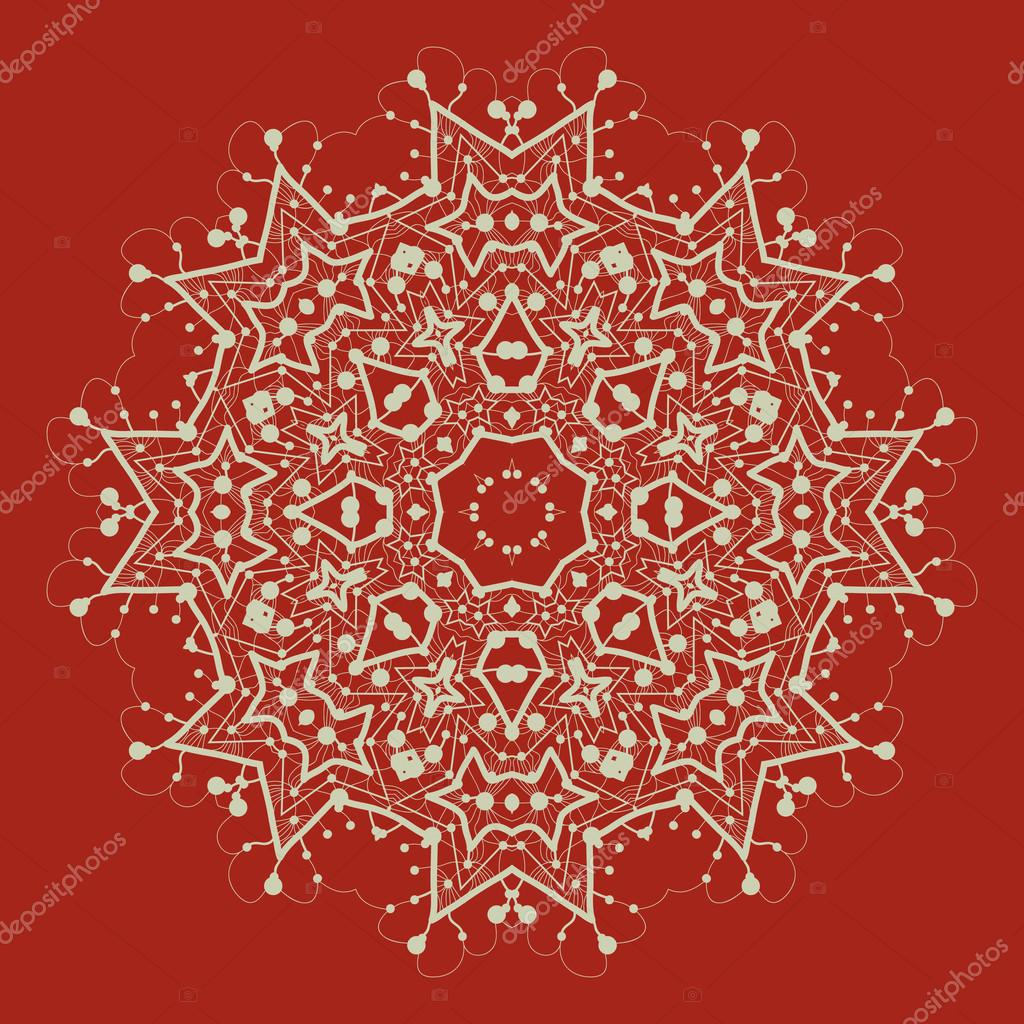 Vector mandala on red. Art vintage decorative elements. Hand drawn tribal style yantra or chakra symbol. Arabic indian, ottoman, asian motifs. Flayer template a lot of copyspace.