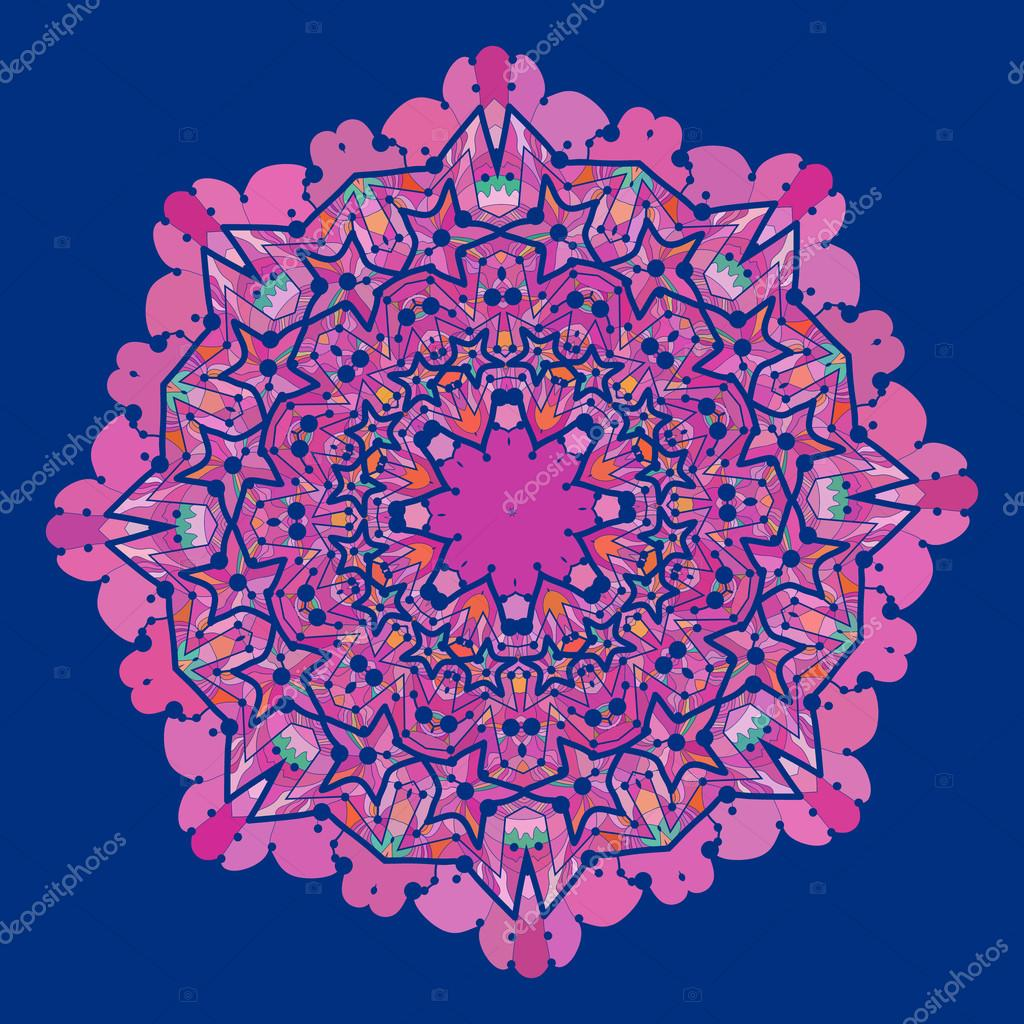 Ornamental colorful vector mandala of violet and pink color. Art vintage decorative elements. Hand drawn tribal style yantra flower. Flayer template oriental motif