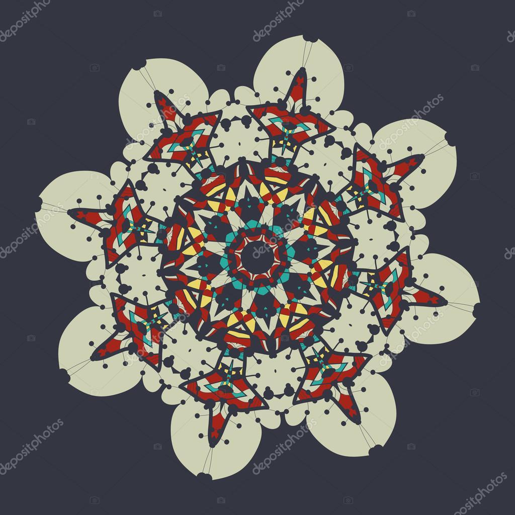 Mandala Coloree Sur Fond Gris Element De Decoration Vintage Pour