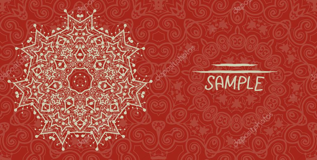 Wedding or invitation card design made of tribal style lace. Islamic, arabic, indian, ottoman, asian motifs. Flayer template in red color. Mandala like flower.