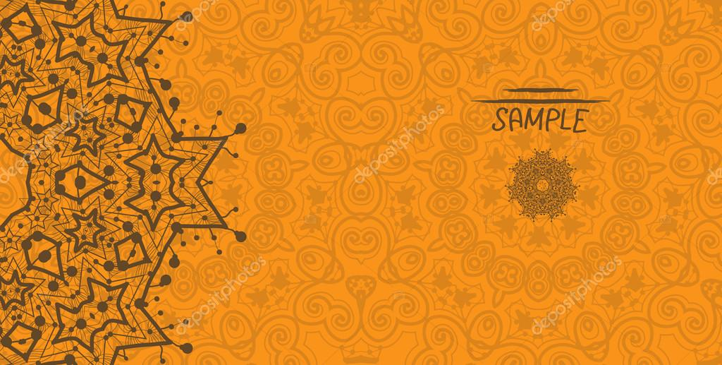 Orange greeting card with tribal ornament. Flayer template. Wedding invitation design. Retro ethnic lace. Oriental motif.