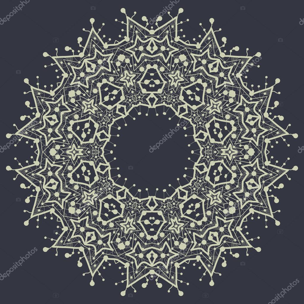 Mandala in outlines over gray background. Vintage decorative element for flyer card. Hand drawn tribal style design. Islamic, arabian and indian, ottoman motifs.