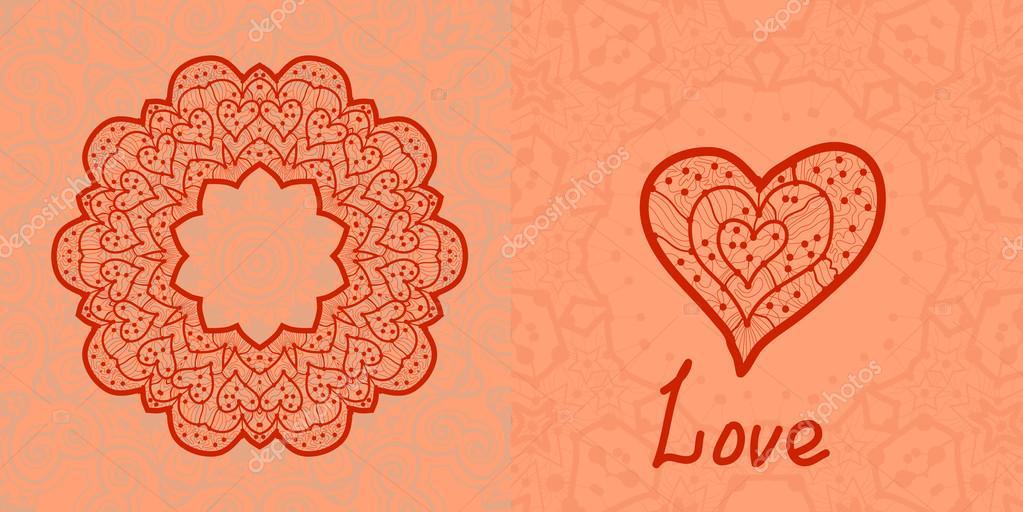 Love card. Valentine flayer template. Wedding invitation. Mandala ...