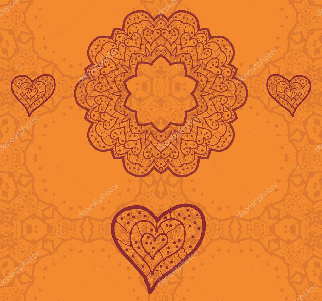 Valentine card design. Ornamental orange vector flyer. Love card. Heart shaped vintage decorative elements. Hand drawn outline mandala. Islamic, arabic, indian, ottoman, asian motifs. Flayer template