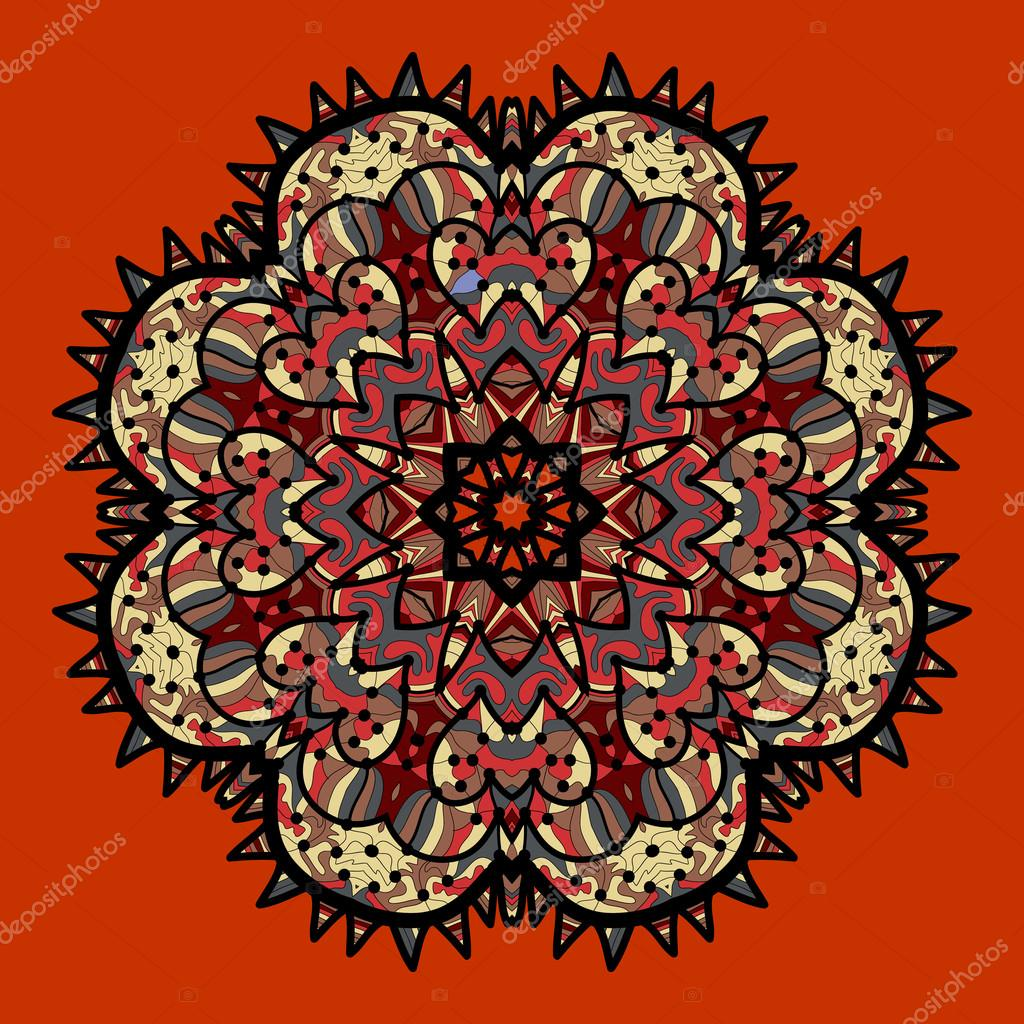Ornamental colorful vector mandala on red. Art vintage decorative elements. Hand drawn tribal style yantra or chakra symbol. Arabic indian, ottoman, asian motifs. Flayer template a lot of copyspace.