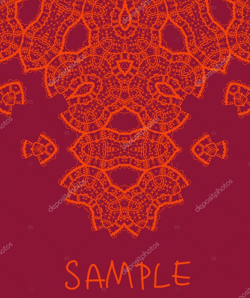 Wedding invitation Stylized indian mehndi inspired art over red