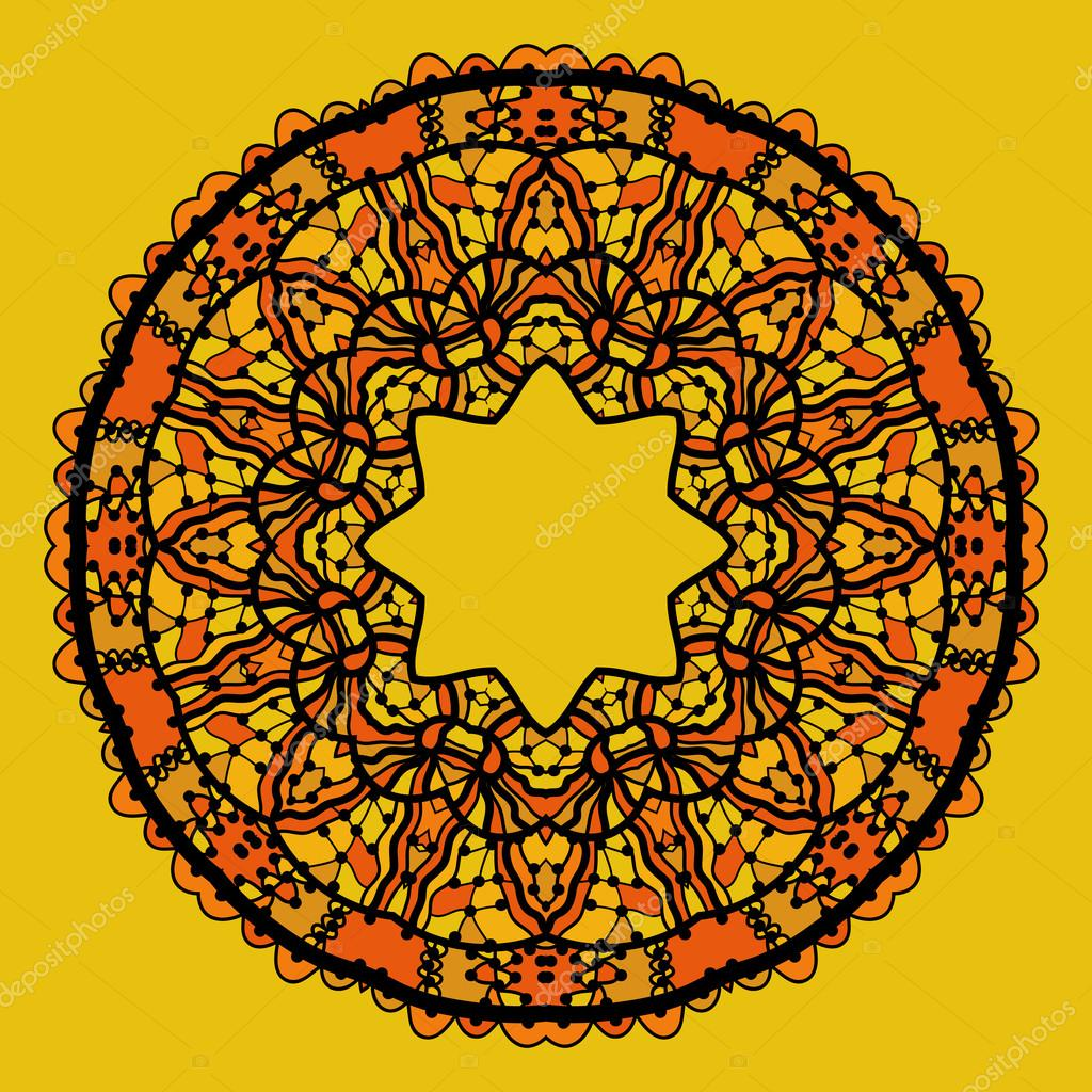 Round lace patterd mandala like design in yellow color. Art vintage decorative elements. Hand drawn tribal style yantra. Flayer template oriental style motif.