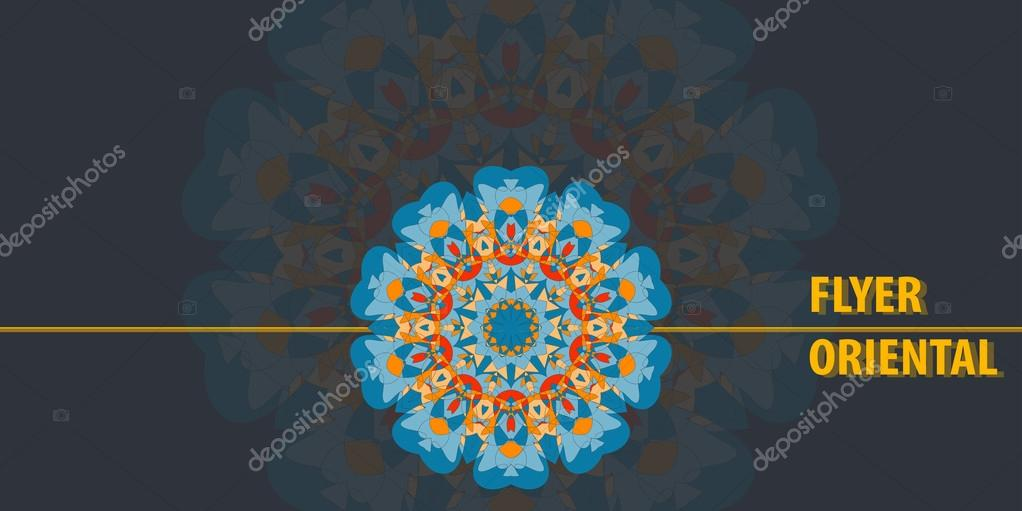 Print Flayer template design Abstract Retro Ornate Mandala Background for greeting card, Brochure, Card or Invitation with Islamic, Arabic, Indian, Ottoman, Asian motifs. Flyer artwork design