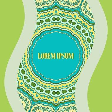 Stylized Oriental Postcard Print. Round Ornamental Symmetry Pattern. Vintage decorative element. Hand drawn artwork. Islamic, Arabic, Persian, Indian, Ottoman motifs.