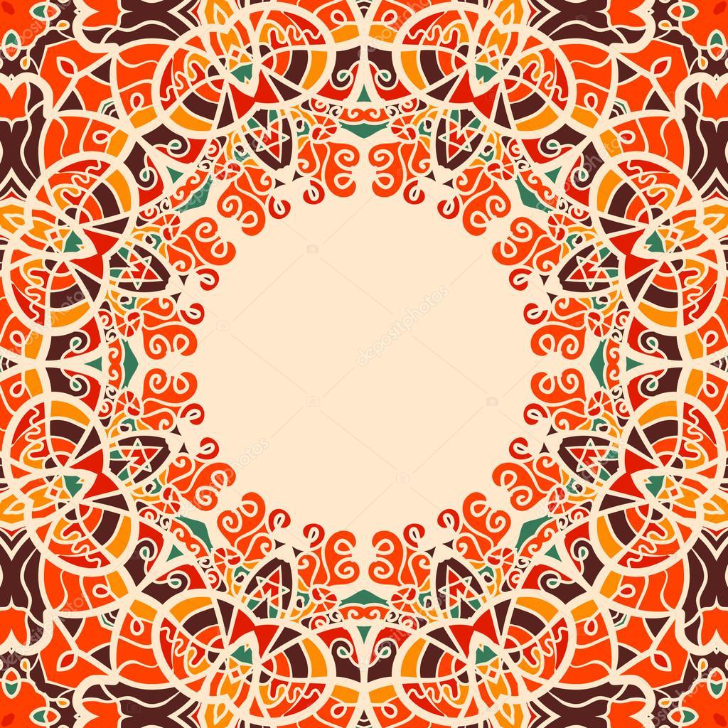 Cadre rond Style Oriental couleur chaude — Image vectorielle mettus ...