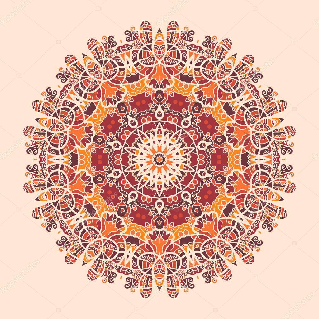 Mandala-Print. Runde dekorative Symmetrie Muster. Jahrgang ...