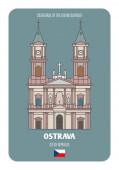 Katedrála Božího Spasitele v Ostravě, Česká republika. Architektonické symboly evropských měst. Barevný vektor