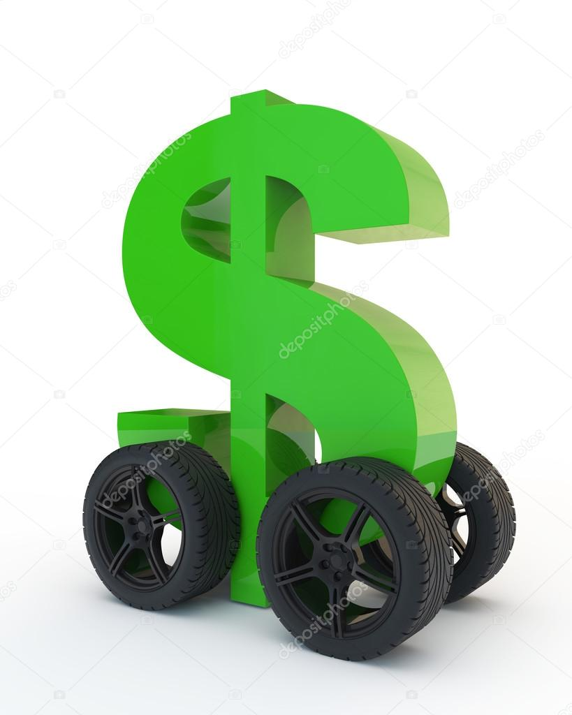 dollar sign on wheels