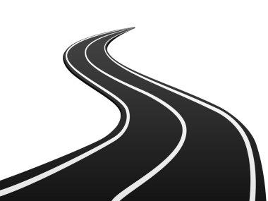 Asphalt road on white