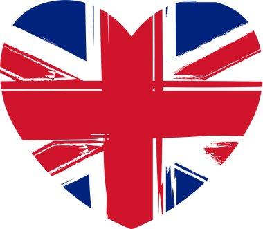 Grunge Britain flag in heart shape