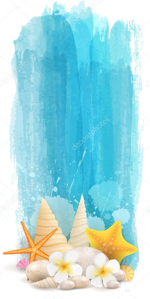 Vertical watercolor summer banner