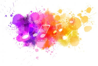 Music notes on colorful abstract watercolored background clip art vector