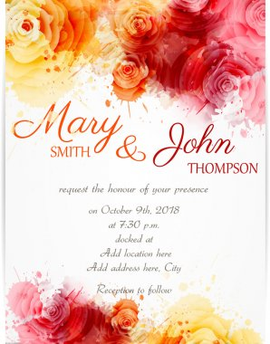 Wedding invitation template with abstract florals on watercolor background clip art vector