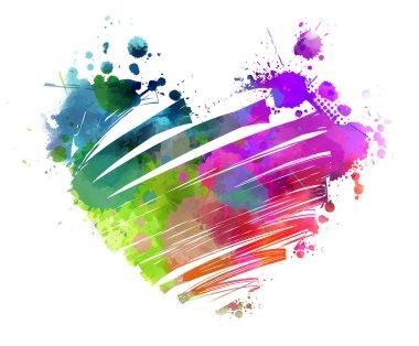 Grunge watercolored heart