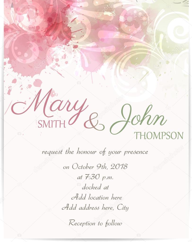 Modle invitation mariage avec des lments abstraits florals modle dinvitation avec des fleurs abstraites sur fond aquarelle de mariage vecteur par artlana stopboris Gallery