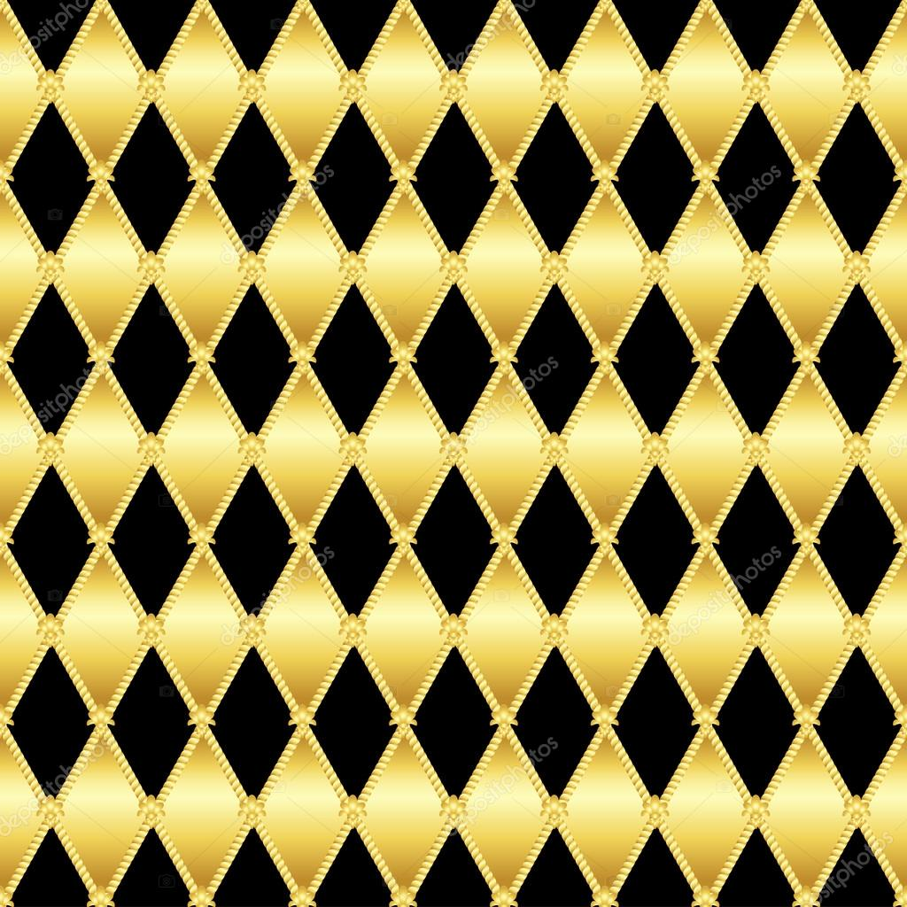 Gold glittering seamless pattern of triangles