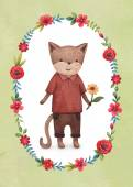 Photo Watercolor illustration of cute cat