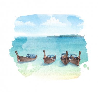 Watercolor illustration of a boats on a beach