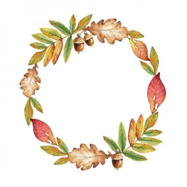 Watercolor illustration of a wreath with orange leaves