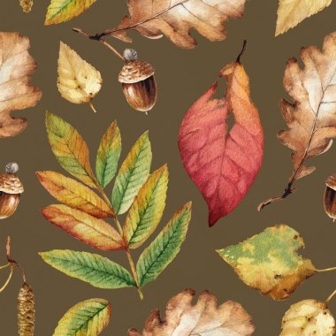 Watercolor illustrations of leaves. Seaamless pattern